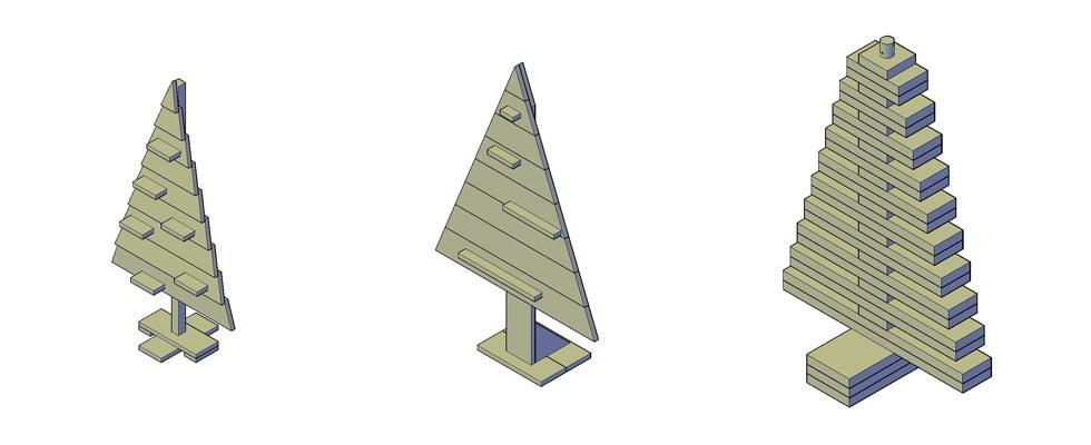houten kerstboom bouwtekening